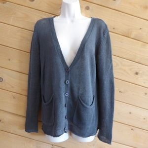 360 Sweater 100% Linen Open Knit Cardigan V-neck S